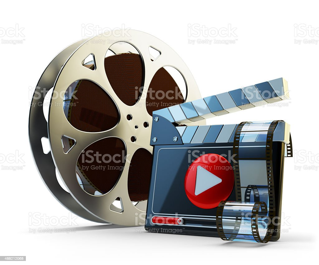 Media player and video clip production concept stock photo