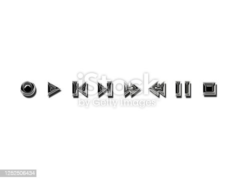 istock media player  icons chrome metallic . media player symbols icons and signs . 3d illustration 1252506434