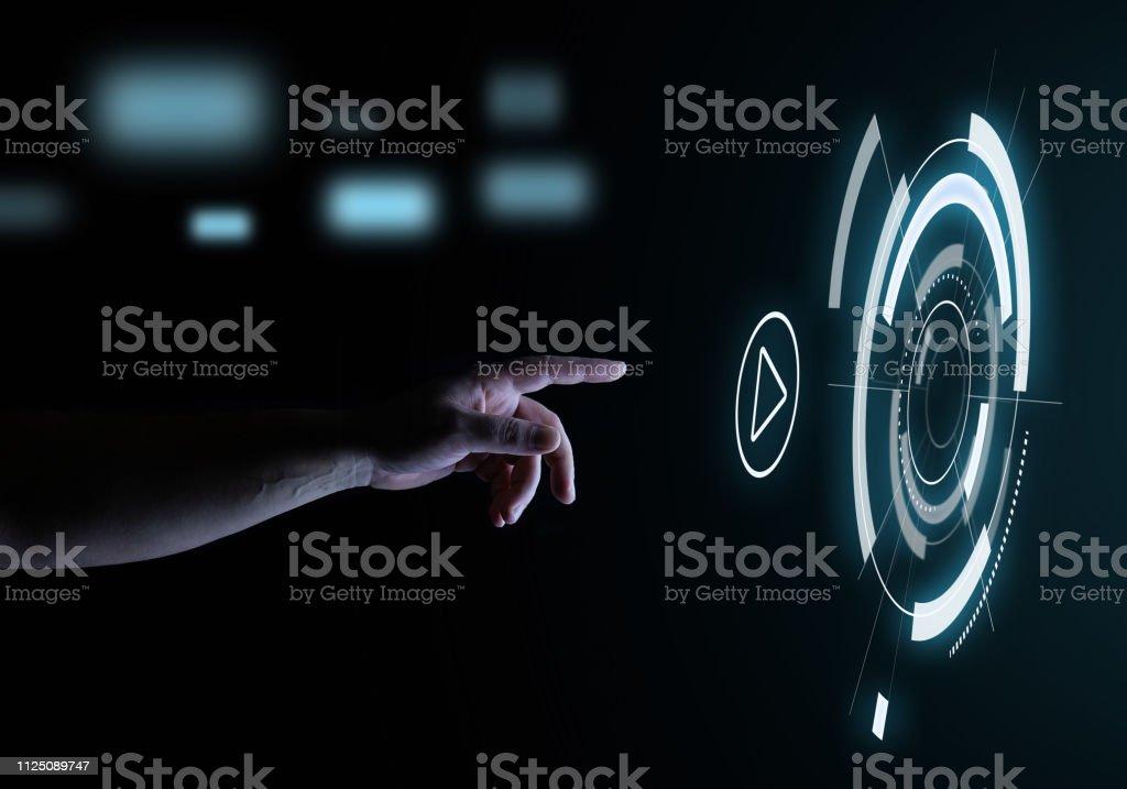 Media Player juego botón táctil Digital holograma interfaz tecnología concepto de usuario - foto de stock
