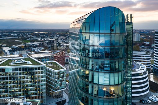 A bird's eye view of Medienhafen on the Rhine River in Düsseldorf, Germany. 2020