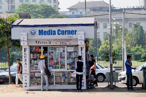 Media stall in Rangoon Myanmar.