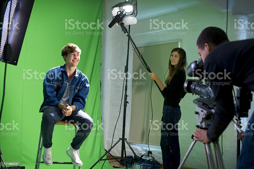 media student being interviewed royalty-free stock photo