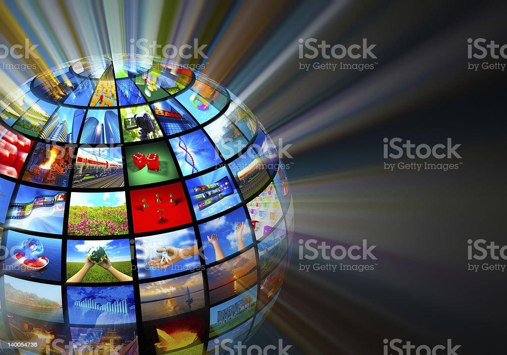 Glowing globe with various media screens - つながりのロイヤリティフリーストックフォト
