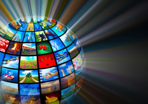Glowing Globe With Various Media Screens - つながりのストックフォトや画像を多数ご用意