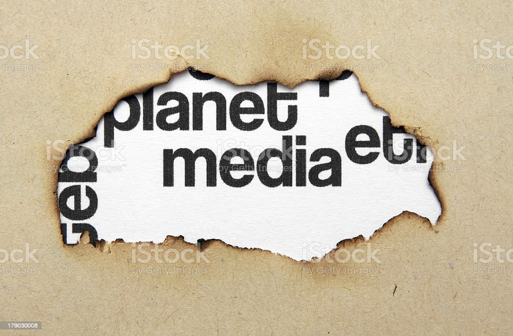 Media text on paper hole royalty-free stock photo