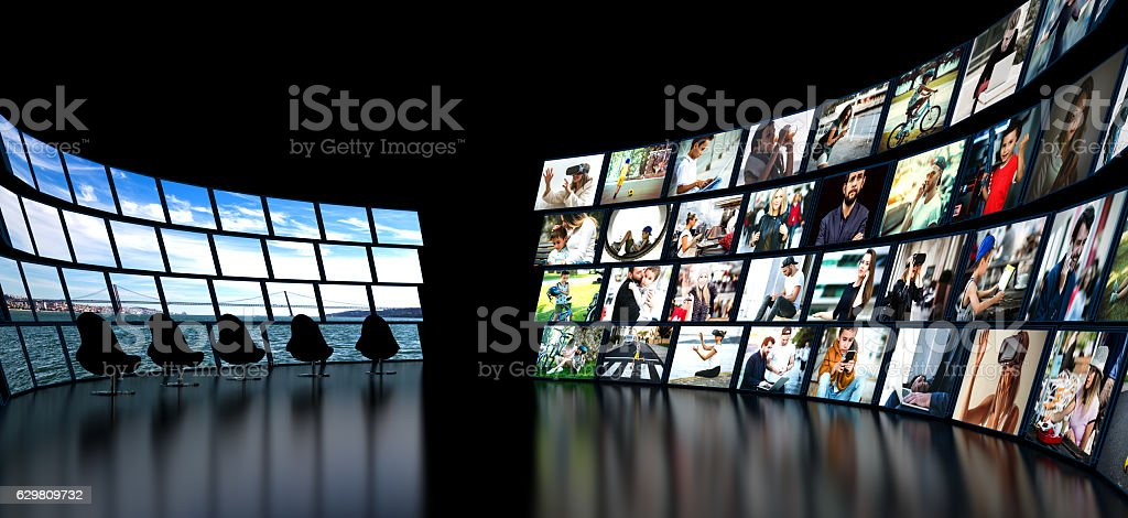 Media wall concept smart TV stock photo