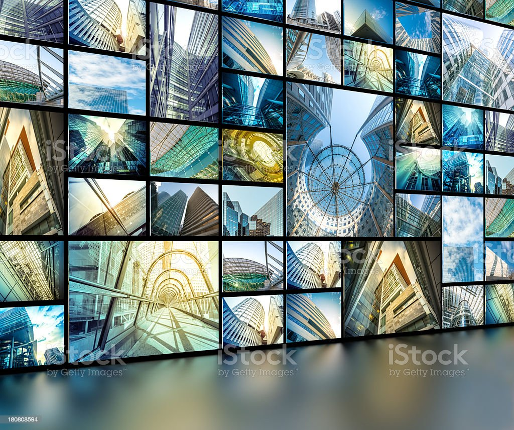 media wall with architectural photography royalty-free stock photo