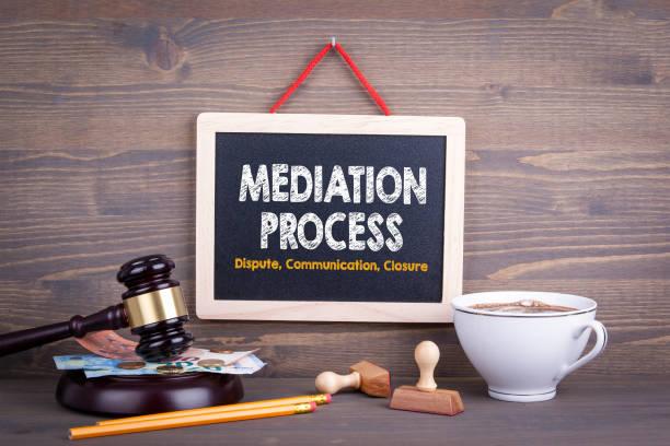 Concepto de proceso de mediación. Cierre de la comunicación del conflicto. Pizarra sobre un fondo de madera - foto de stock