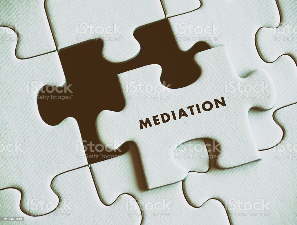 Mediation puzzle concept. stock photo