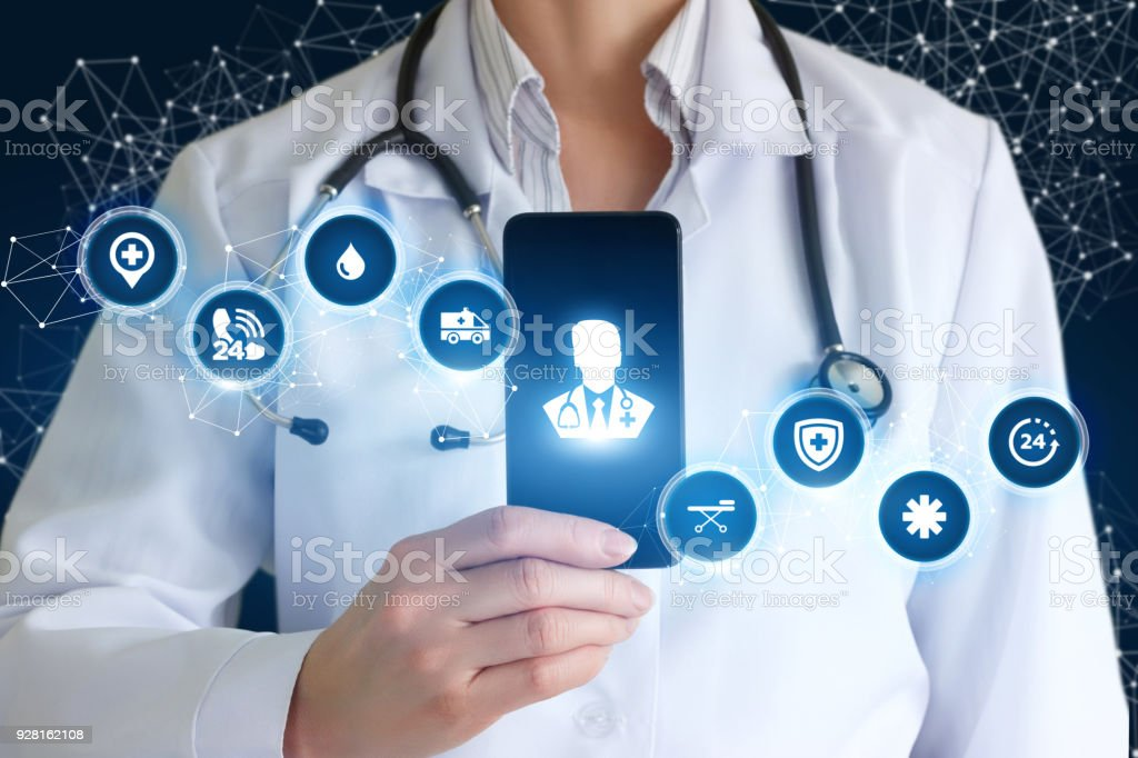 Medic shows on phone medical app . stock photo