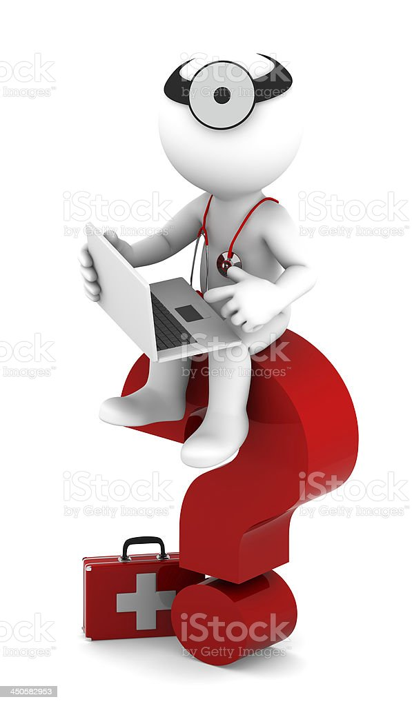 Medic with laptop sittting on red question mark stock photo