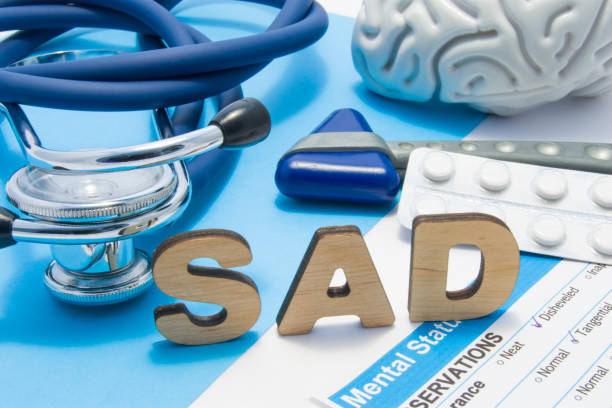 SAD medical abbreviation meaning seasonal affective disorder, depression could during seasons with little light. Word SAD is surrounded by stethoscope, result of mental status exam, drugs and brain SAD medical abbreviation meaning seasonal affective disorder, depression could during seasons with little light. Word SAD is surrounded by stethoscope, result of mental status exam, drugs and brain affective stock pictures, royalty-free photos & images