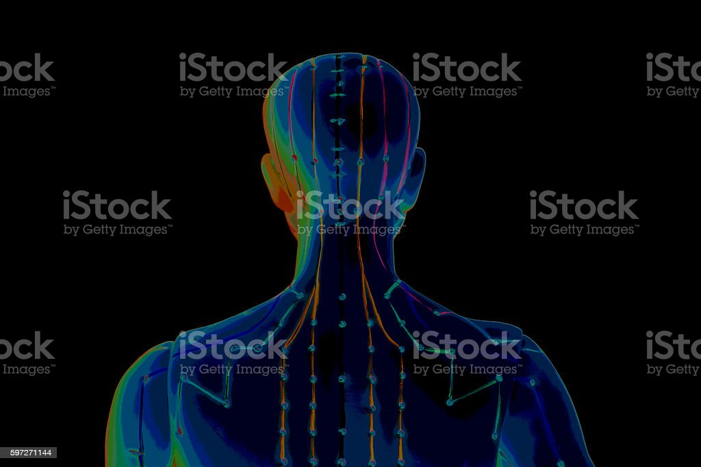 Medical acupuncture model of human on black background Lizenzfreies stock-foto