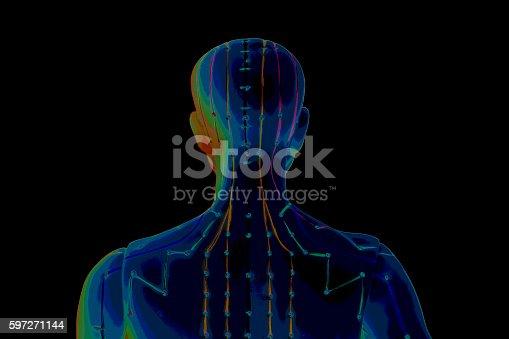 Medical Acupuncture Model Of Human On Black Background Stock-Fotografie und mehr Bilder von Akupunktur