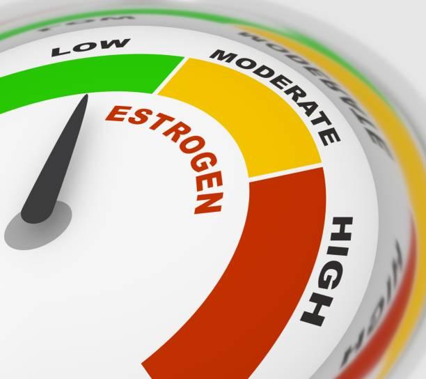 Medical background concept Hormone estrogen level measuring scale. Health care concept illustration. 3D rendering oestrogen stock pictures, royalty-free photos & images