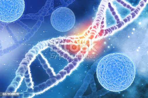 istock 3D medical background virus cells and DNA strands 637808526
