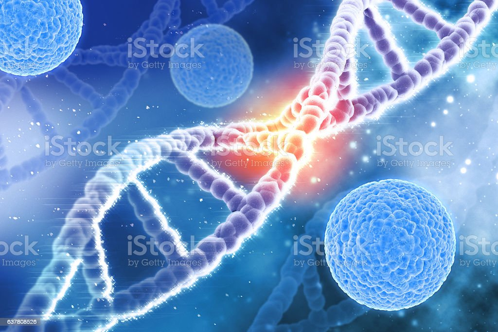 3D medical background virus cells and DNA strands stock photo