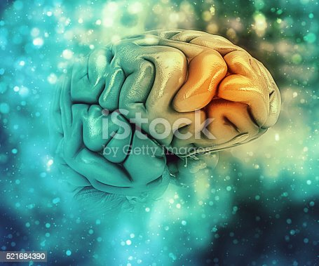 istock 3D medical background with brain 521684390