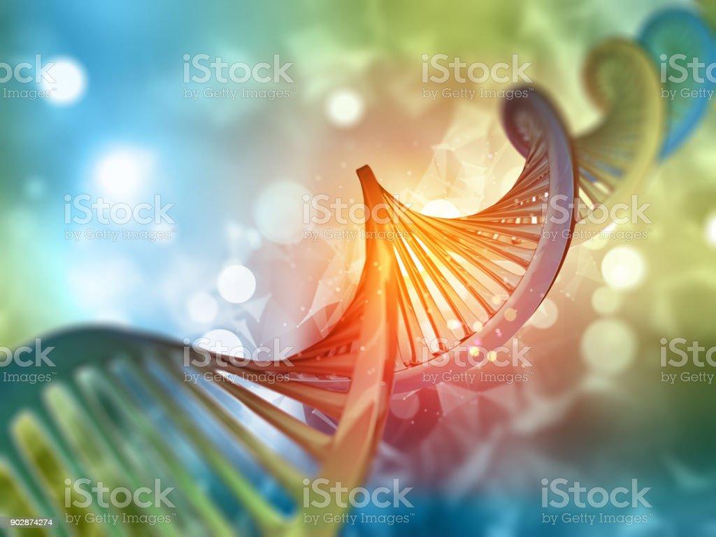 3 D fondo con hebra de ADN médica foto de stock libre de derechos