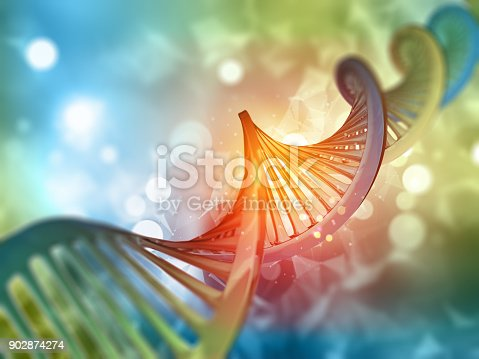 istock 3D medical background with DNA strand 902874274