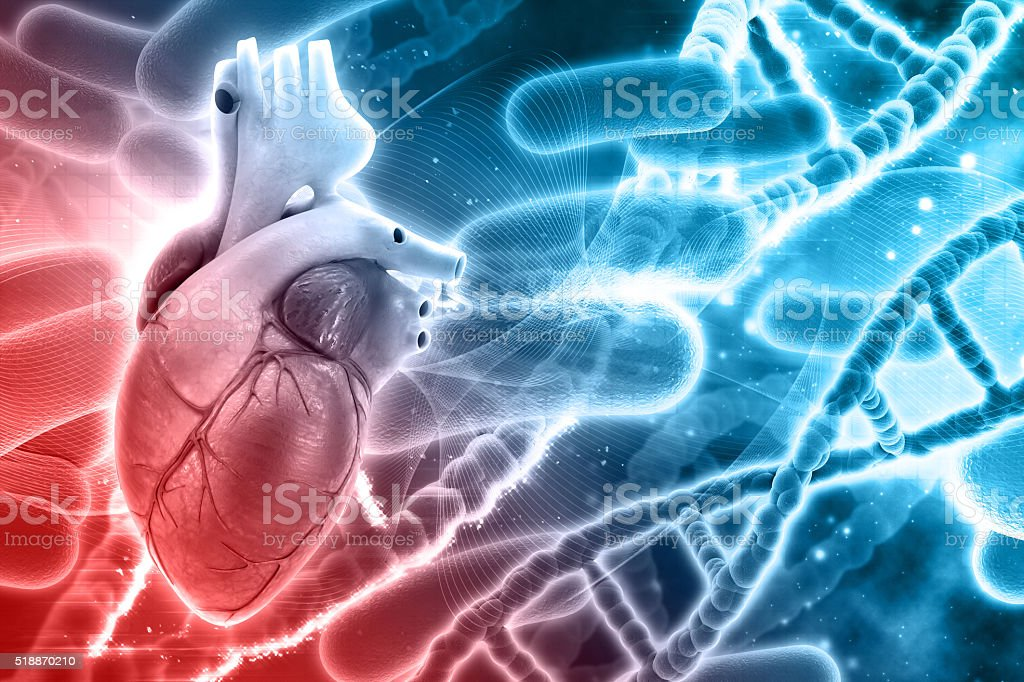 3D medical background with DNA strands and heart stock photo