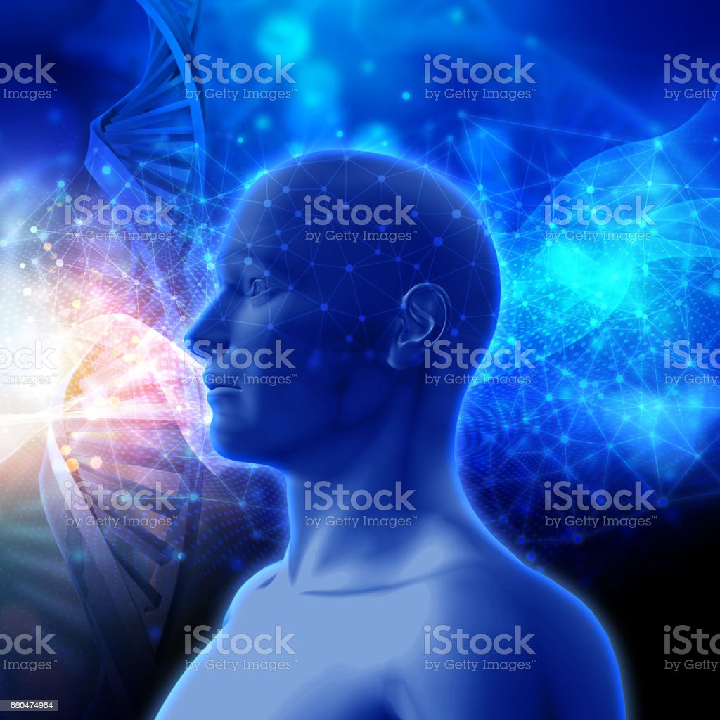 3D medical background with DNA strands and male head - Photo