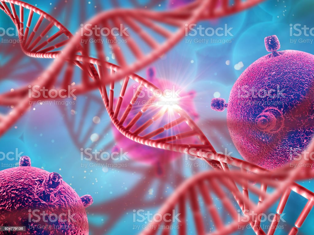 3D medical background with DNA strands and virus cells stock photo