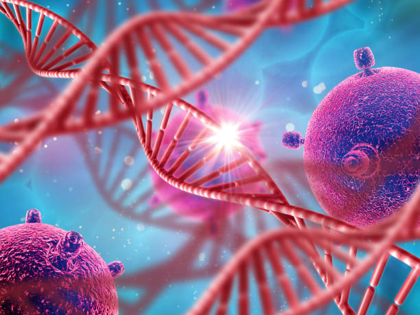3d medical background with dna strands and virus cells - micro organism stock photos and pictures
