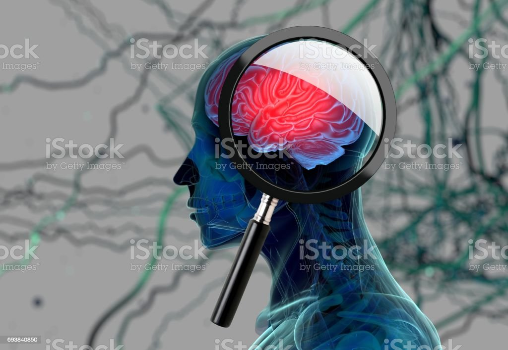 3D medical background with magnifying glass examining brain depicting alzheimers research. 3d illustration - foto stock