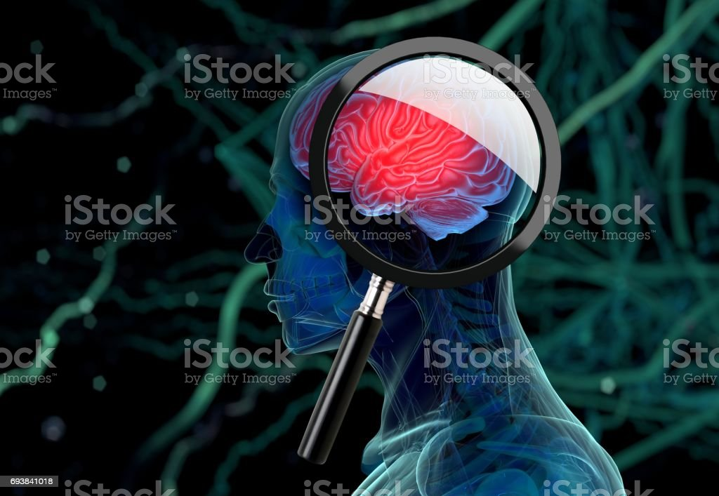 3D medical background with magnifying glass examining brain depicting alzheimers research. 3d illustration stock photo