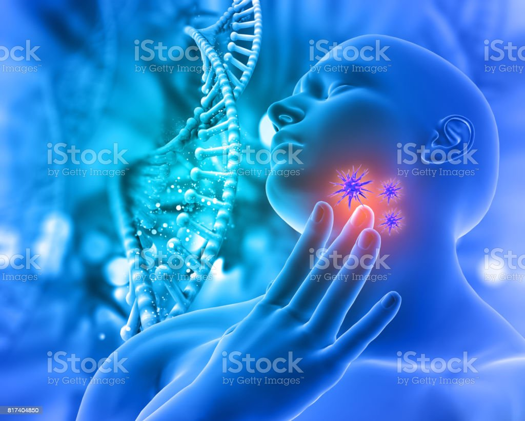 3D Medical background with male figure holding throat in pain with virus cells stock photo