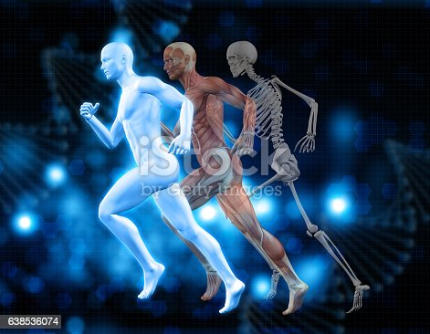 istock 3D medical background with male figure in running pose 638536074