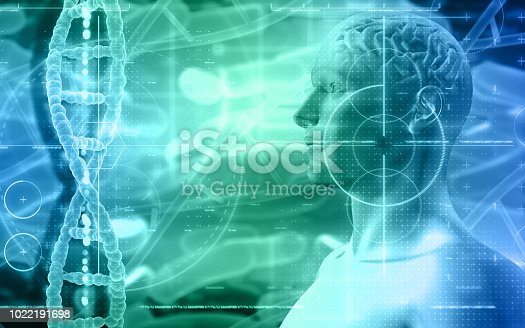 692684668istockphoto 3D medical background with male figure with brain and DNA strands 1022191698