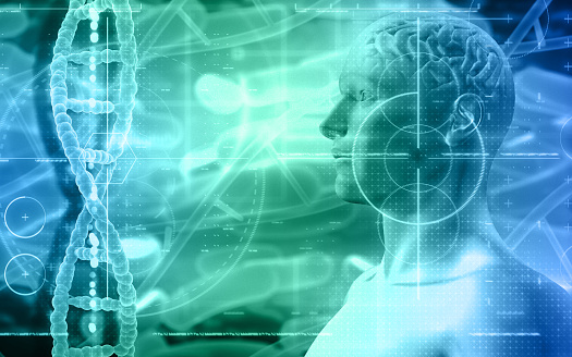 692684668 istock photo 3D medical background with male figure with brain and DNA strands 1022191698