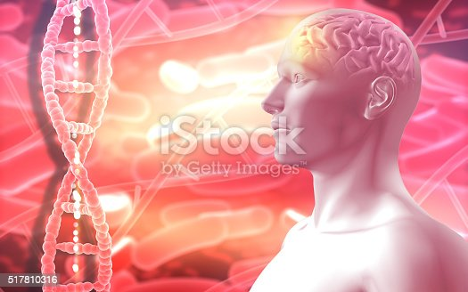692684668istockphoto 3D medical background with male figure with brain 517810316
