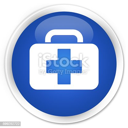 istock Medical bag icon blue glossy round button 599252722