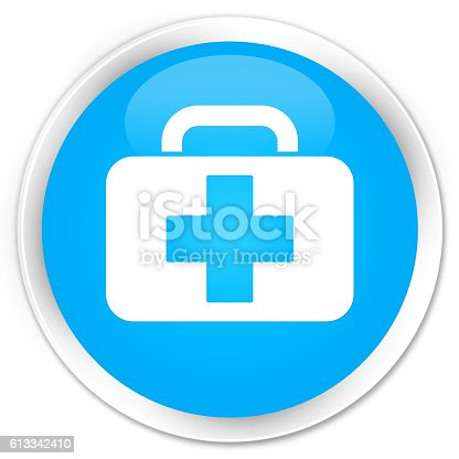 istock Medical bag icon cyan blue glossy round button 613342410