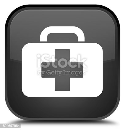 istock Medical bag icon special black square button 624697964