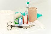 Medical Bandage and Scissors