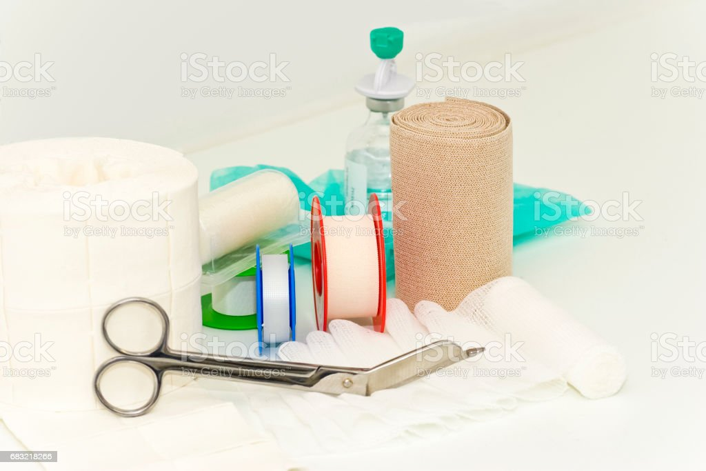 Medical Bandage and Scissors stock photo