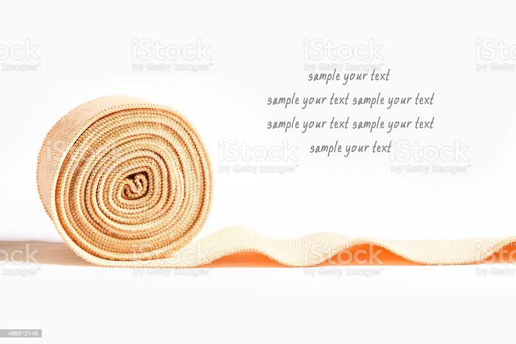 Medical bandage roll with text space stock photo
