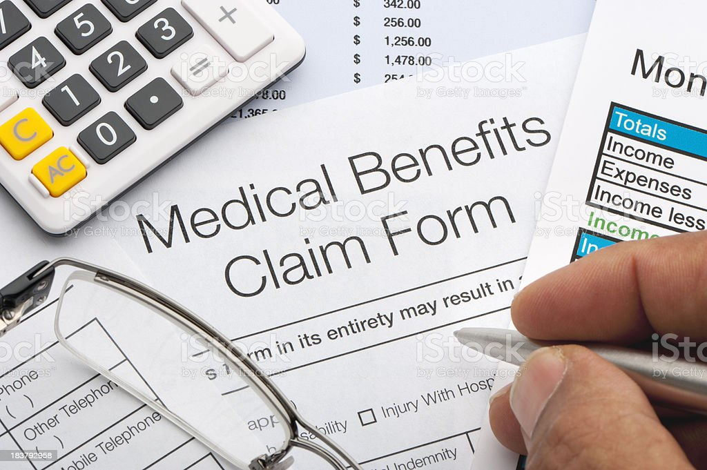 Medical benefits claim form royalty-free stock photo