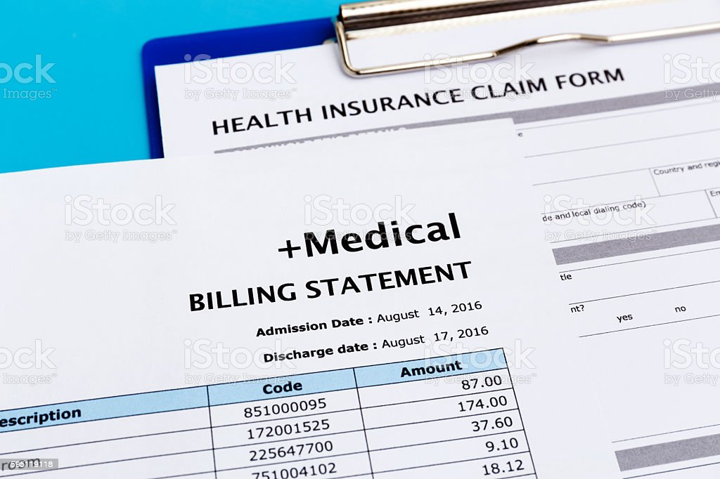 Medical bill and health insurance claim form stock photo