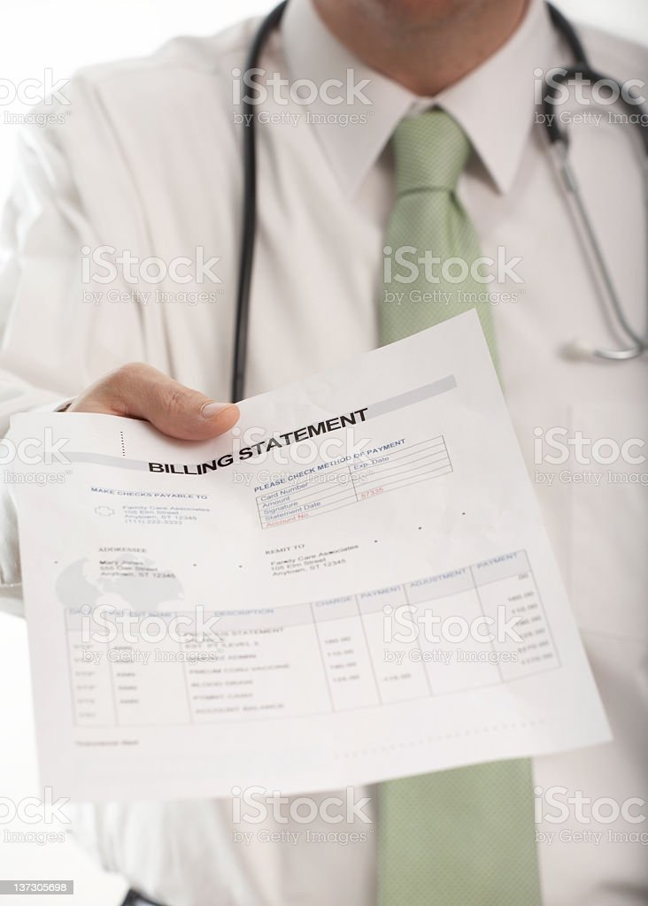 Medical bill given by a doctor stock photo