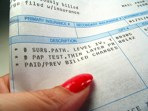Medical Bill Gynecologic bill including surgical pathology charge as well as thin prep pap smear pap smear stock pictures, royalty-free photos & images