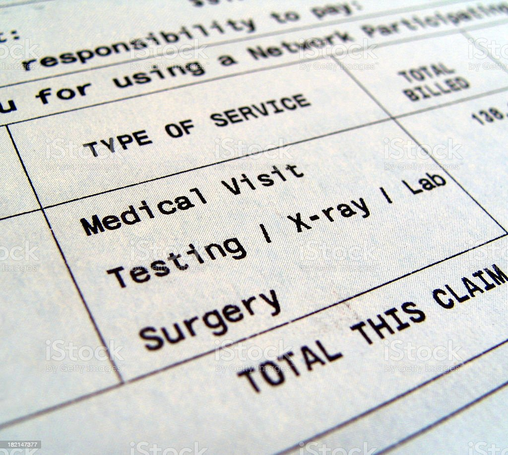 Medical bills for separate types of services Macro of Medical Bill includes tesing/x-ray/lab/surgery Bank Statement Stock Photo