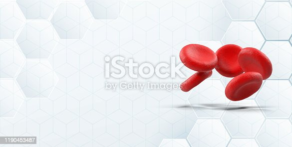 3D blood cells object as medical symbol on modern hexagonal white  background with large copy space.