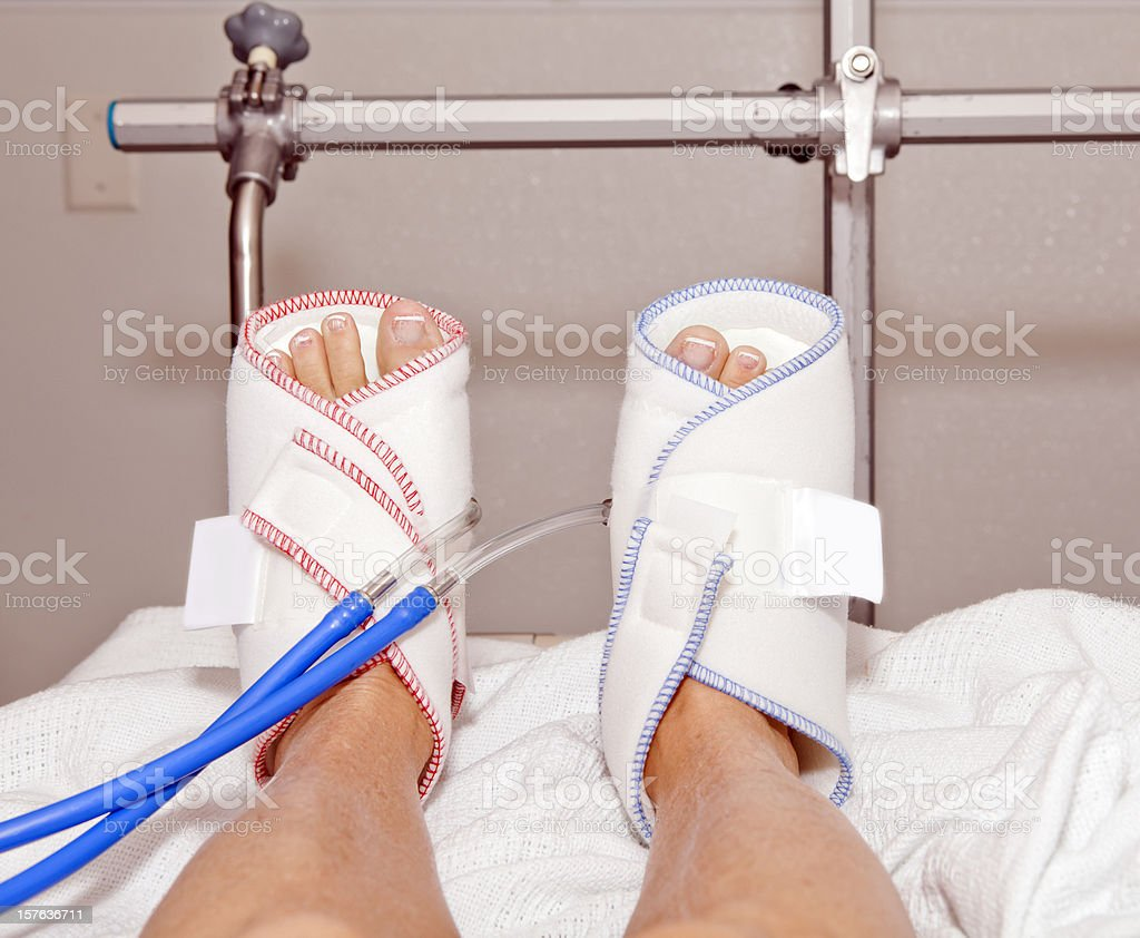 Medical: Blood clot prevention boots stock photo