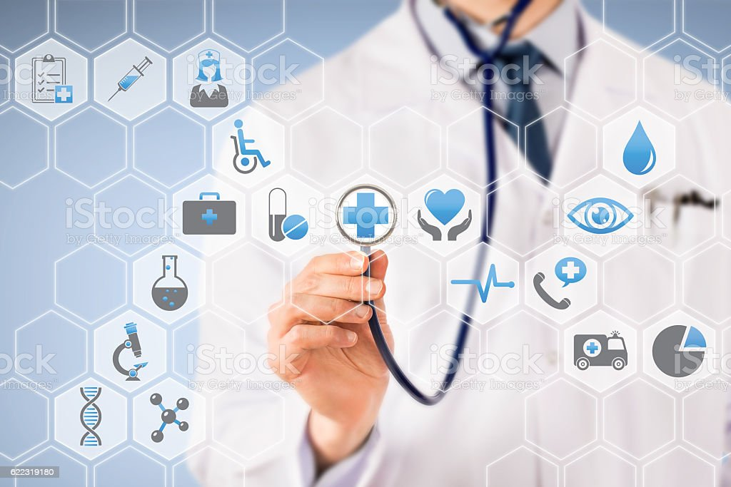 Medical Button on Visual Screen stock photo