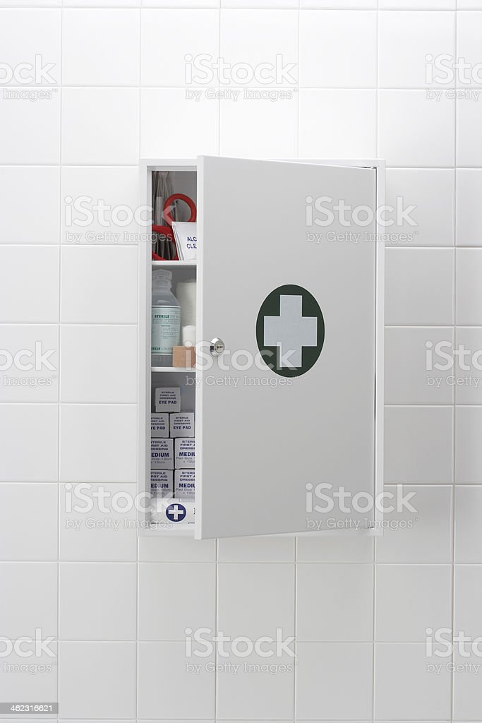 Medical cabinet on wall stock photo